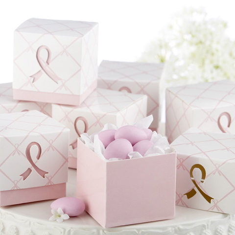 Pink ribbon wedding guest favor boxes