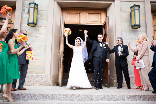 Ceremony Exit with Bubbles