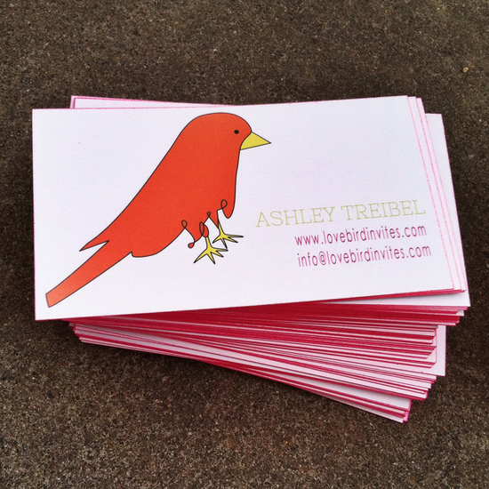 Love Bird Invites Business Card Side 1