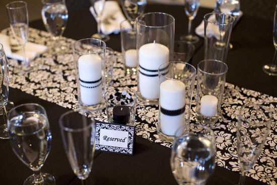 Black-White-Wedding-Contemporary-Modern-Vintage-Centerpiece-Decor-Candles-1