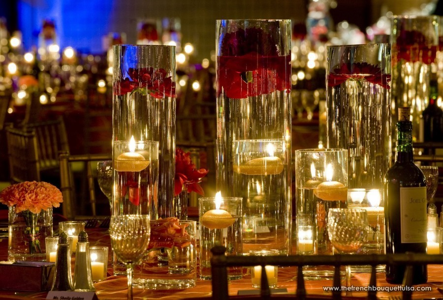 Depth Of Tall Glass Vase Centerpieces Filled With Water The French