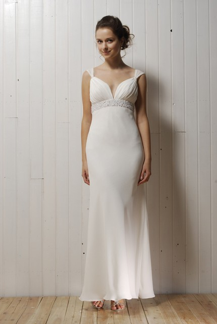 Simple Ivory Deep V Neck Wedding Dress With Beading Below