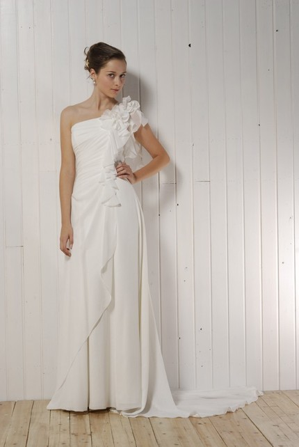Etsy-one-shoulder-white-asymmetrical-draped-wedding-dress-floral-detail.full
