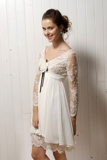 Vintage-inspired ivory lace casual wedding dress with long sleeves and v-neck