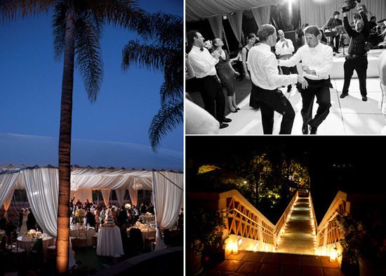 Wedding party dances the night away on inside the reception tent; candlelit walkway leading down to