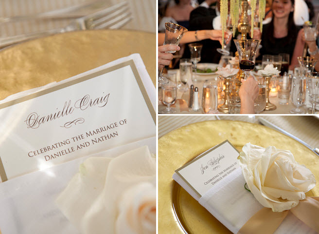 Romantic Wedding Reception Tablescape Gold Charger Plates Ivory And Champagne Menus Rose De