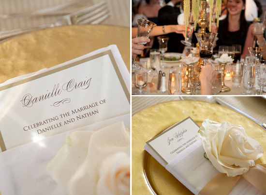 Romantic wedding reception tablescape- gold charger plates, ivory and champagne menus, ivory rose de