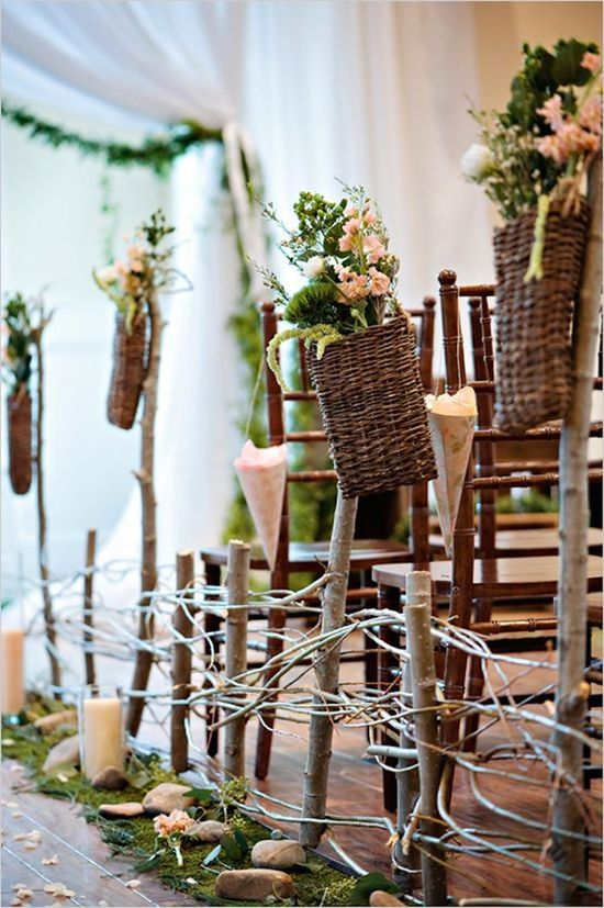 Nature Inspired Aisle Decor