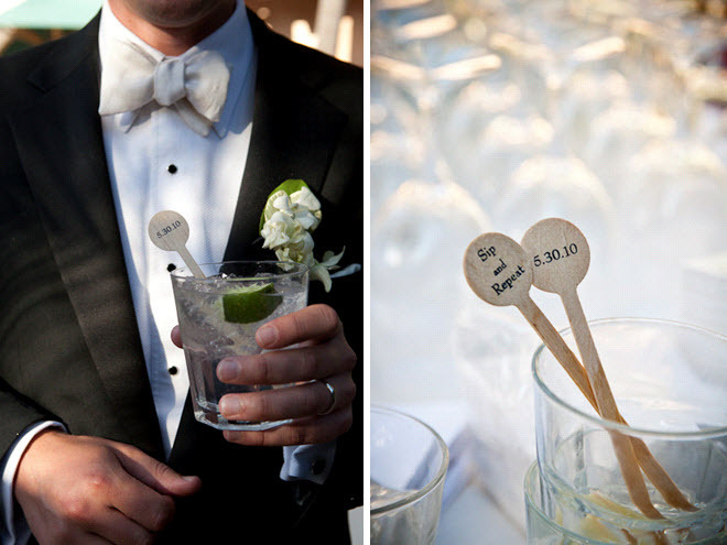 Groom-wears-black-tux-cream-bowtie-holds-cocktail-at-wedding-reception-personalized-wedding-details.full