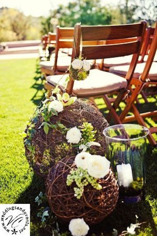 Twine Balls and Flowers for Aisle Decor