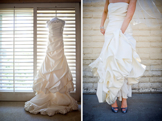 Bride wears ivory strapless classic wedding dress, shows off blue peep-toe bridal heels