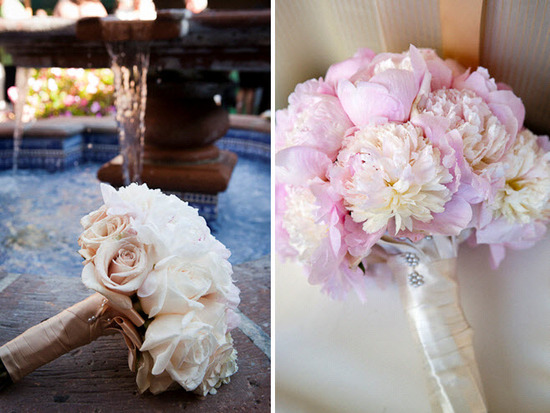 Blush and ivory roses, peonies and hydrangeas comprise romantic bridal and bridesmaids floral bouque