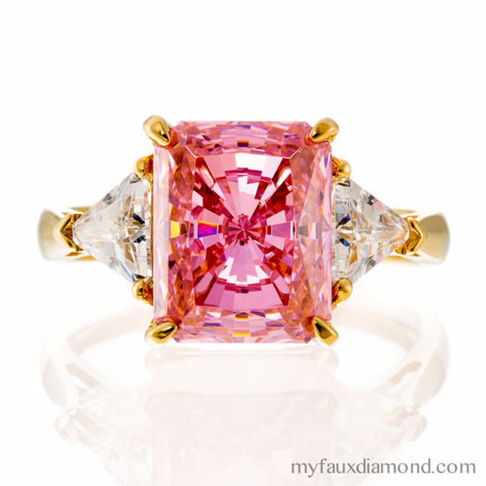 Radiant Cut Faux Pink Sapphire and 5A CZ Triangle Accent Ring