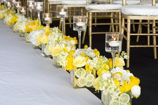 Lemon and Yellow Flower Aisle Decor