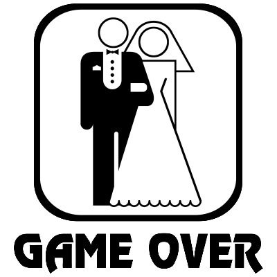 This Game Over t-shirt is a classic gag gift given to the groom at the bachelor party