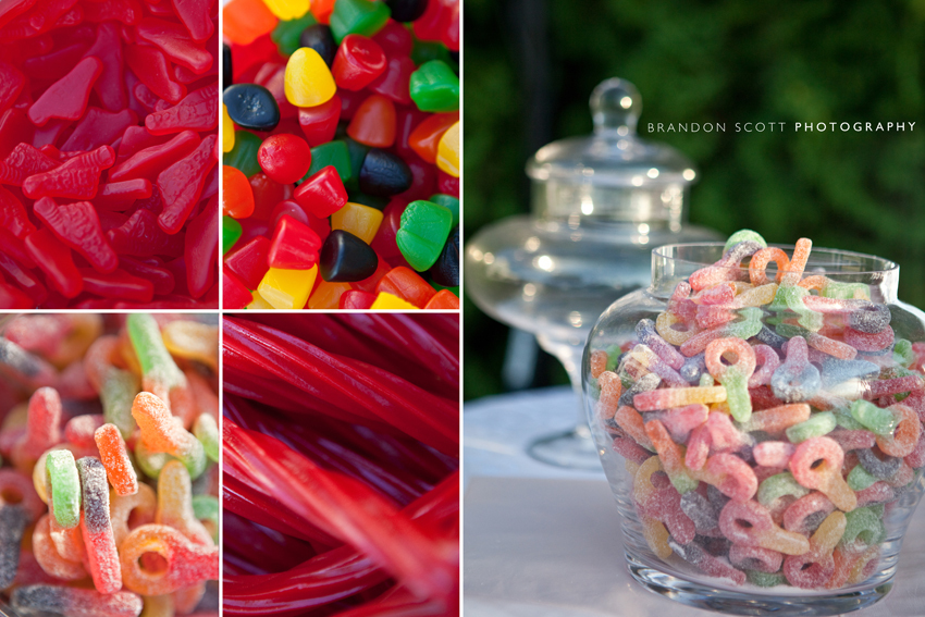 Delicious and bright candy bar for the wedding reception