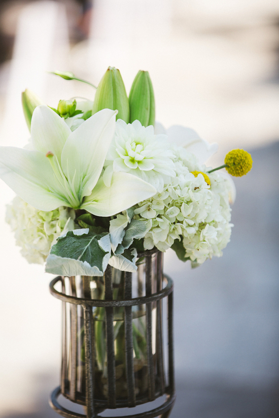 White Lillies and Hydrangeas and Yellow Billy Balls in a Metal Vase