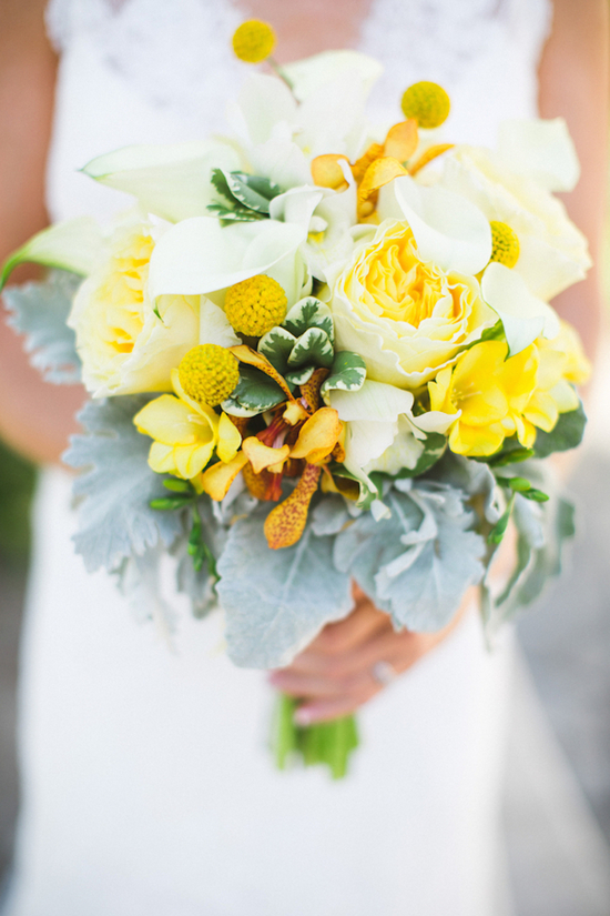 Bridal Bouqet with Yellow Roses and Billy Balls and White Lillies