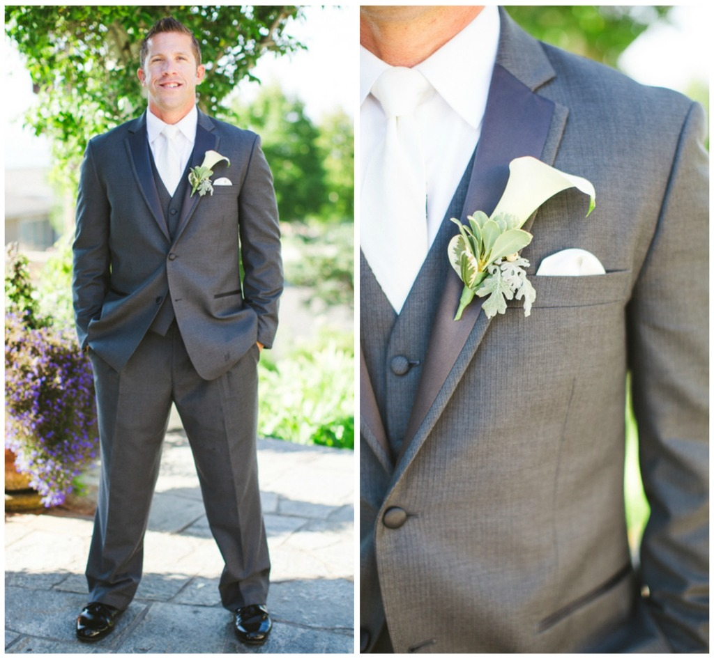 in Grey Suit with a White Lily Boutonniere