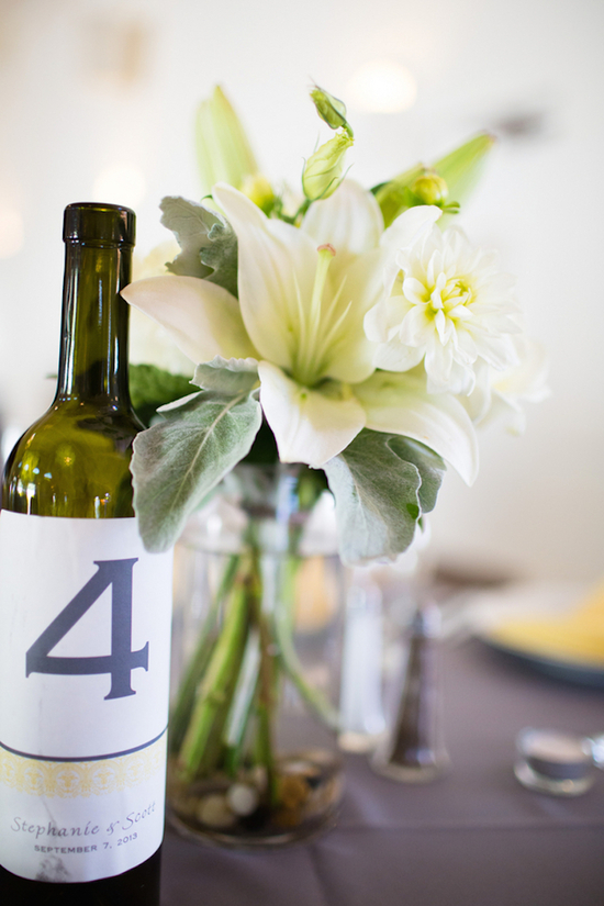 Custom Wine Bottles for Table Numbers and Floral Centerpieces