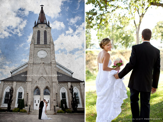 Traditional church with steeple for the wedding ceremony; bride and groom walk through forest after