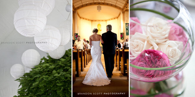 Wedding-ceremony-bride-walks-down-aisle-with-father-of-bride-white-paper-lanterns-pink-wedding-flowers-tented-reception.full