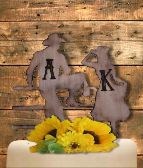 ustic Country Western Cowboy, Cowgirl Bride and Groom Personalized Custom Woodburned Pyrography Wedding Cake Topper Lucky Bee Designs