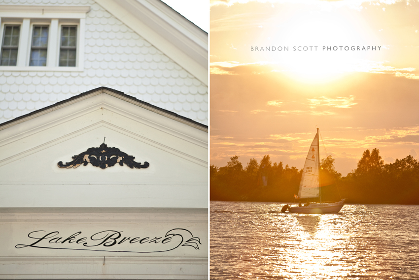 The most beautiful backdrop for this destination wedding with sailboats on the lake during sunset