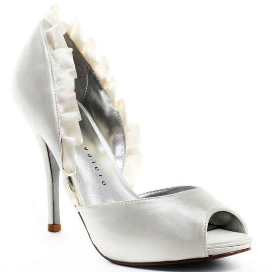 Hot sky high bridal heels by Martinez Valero- white satin peep toe with ruffle detail