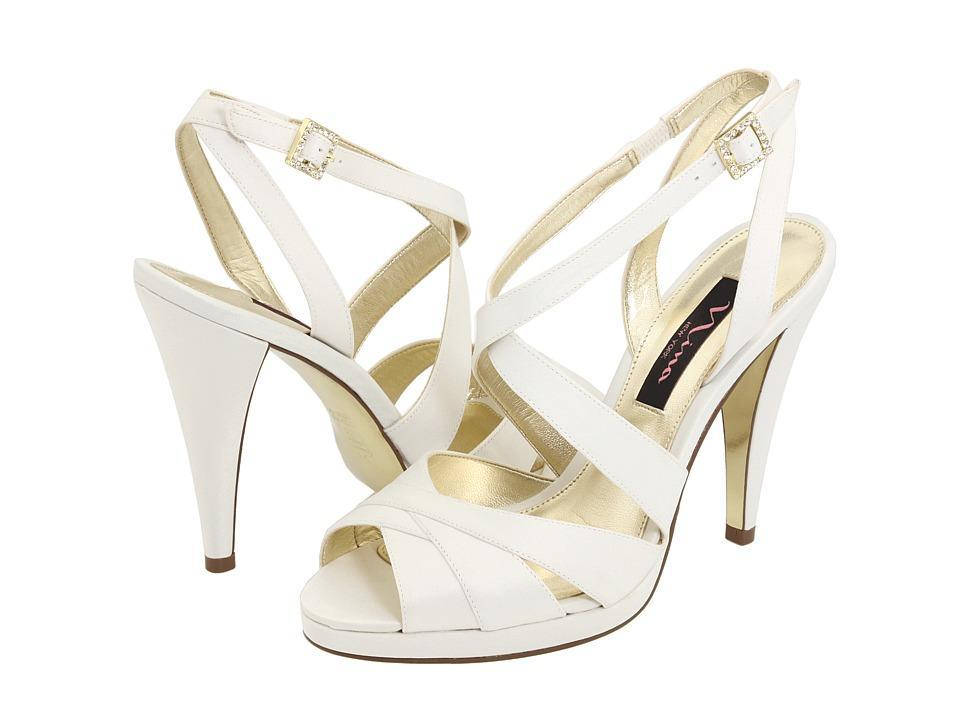 Strappy White Open Toe High Heel Bridal Shoes By Nina