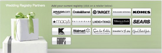 OneWed offers a variety of wedding registry options to add to your wedding website.
