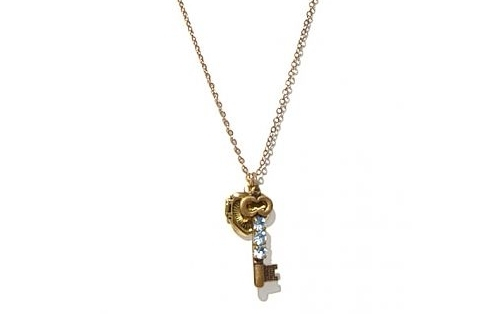 Vintage locket and key charm necklace from Inhabitat