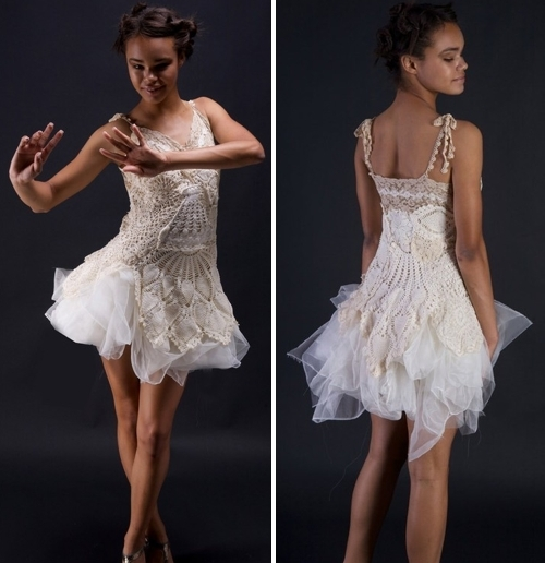 One-of-a-kind handmade ivory doily cocktail dress