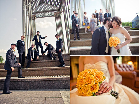 Groom and groomsmen pose outside in black tuxs; bride holds yellow rose bridal bouquet