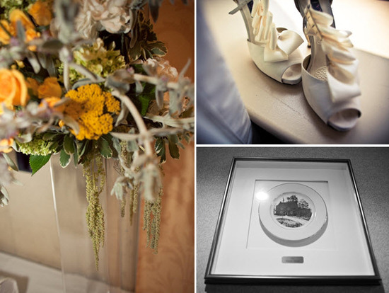 Whimsical yellow, ivory and green wedding flowers; ivory peep-toe bridal heels