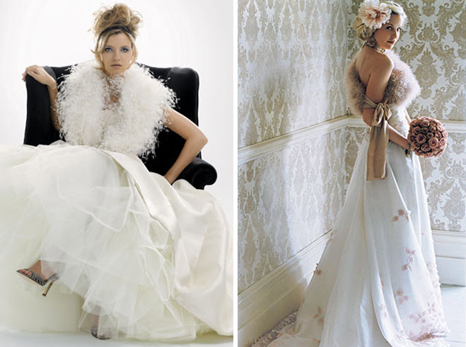 Fur caplets and shawls for your winter wedding bridal look for Winter style wedding dresses