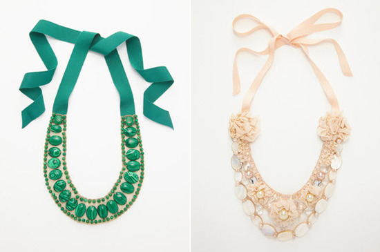 Make a statement at your beach wedding, or on your honeymoon, with these bold ribbon bib necklaces