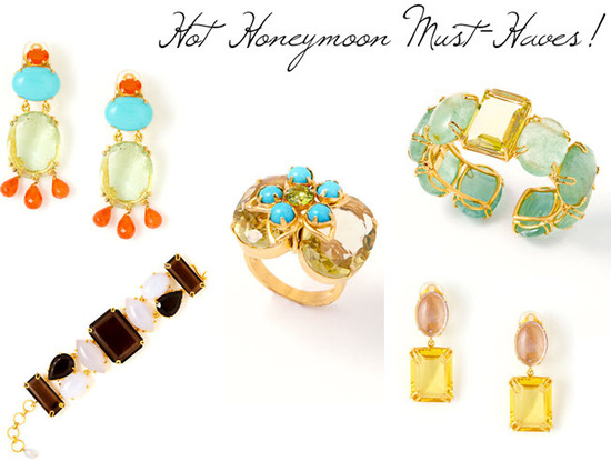 Gorgeous gold and gemstone earrings, rings, and bracelets, perfect for your honemoon!