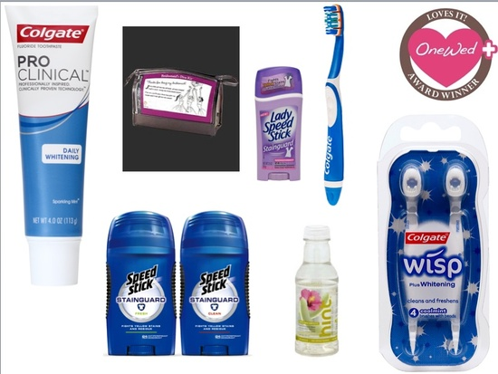 This wedding day emergency kit features everything you need including toothpaste, toothbrushes, wate