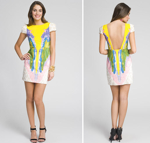 Multi-color yellow, light pink, green cap sleeved dress with Calla Lily design, for upcoming wedding