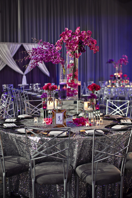 Glittery Reception Table with Pink Orchid Centerpieces
