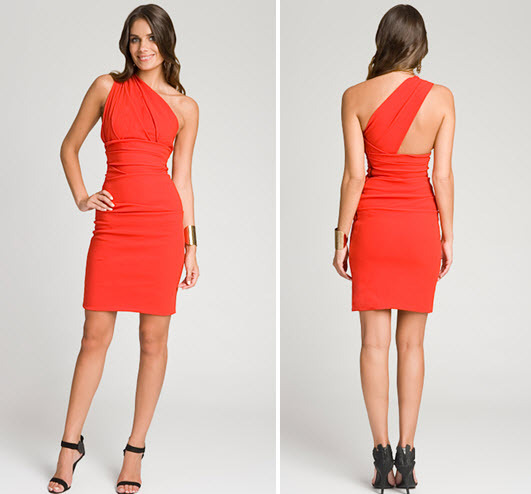 Bright-orange-red-fitted-one-shoulder-cocktail-dress-for-fall-wedding-2.full