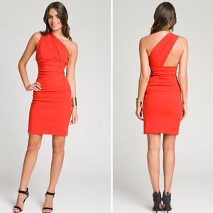 One Shoulder Red Cocktail Dress - Ocodea.com