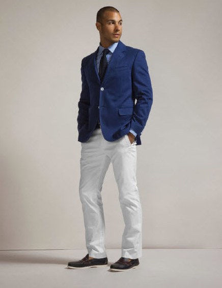 Fun groomsmen wedding day attire- deep midnight blue suit coat, white pants