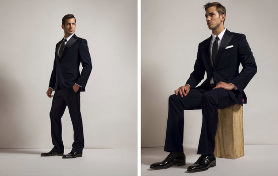 Classic, fabulous-fitting black groom tuxedo with white shirt, black long tie