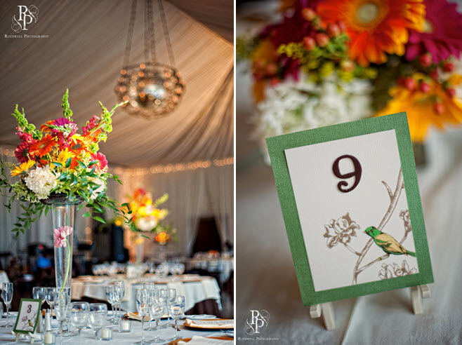 Featured-virgina-wedding-nature-birds-theme-orange-yellow-floral-centerpiece-green-brown-table-number-cards.original