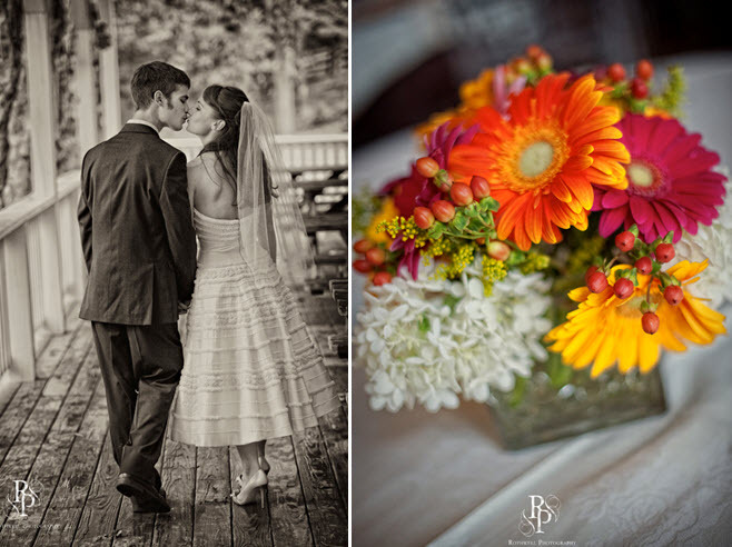 Featured-virgina-wedding-outdoor-at-winery-bride-groom-kiss-after-saying-i-do-orange-red-green-floral-centerpiece.full