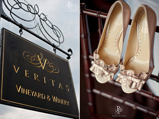 Welcome sign to vineyard wedding venue; bride's peep-toe taupe bridal heels with ruffle details
