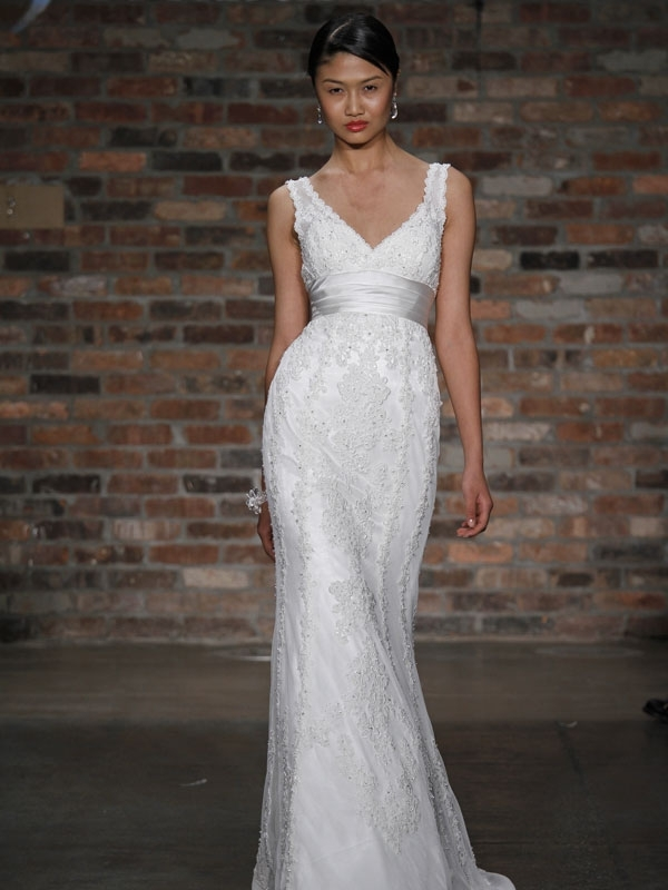 Romantic all-lace white v-neck modified mermaid-wedding dress
