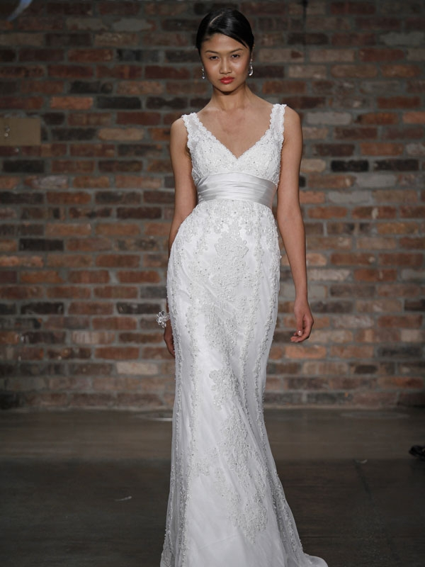 Romantic all lace white v neck modified mermaid wedding for All white wedding dress